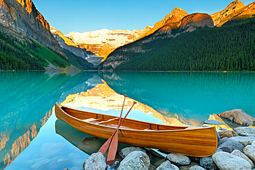 Cedar-Strip Canoe at Lake Louise, Banff National Park, Alberta, Canada