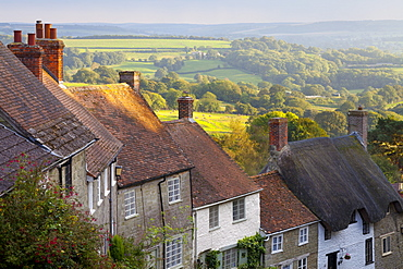 Houses along Gold Hill, Shaftesbury, Dorset, England, United Kingdom, Europe