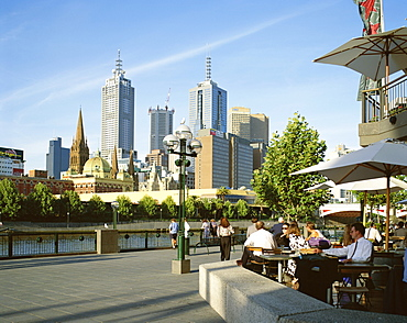 Open air cafe, and city skyline, South Bank Promenade, Melbourne, Victoria, Australia, Pacific