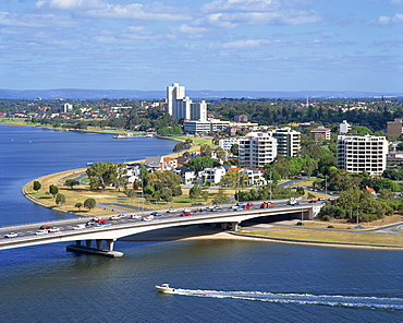 Aerial of the Narrows Bridge in the city of Perth, Western Australia, Australia, Pacific