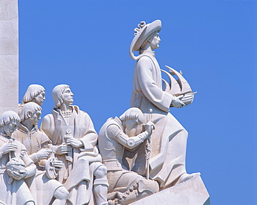 Close-up of statues on the Monument to the Discoveries at Belem, Lisbon, Portugal, Europe