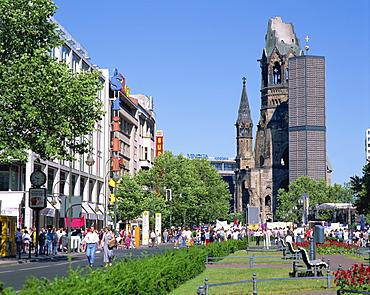 The Kaiser Wilhelm memorial church and the Kurfurstendam in Berlin, Germany, Europe