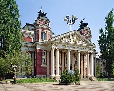Exterior of the Ivan Vasoz National Theatre in Sofia, Bulgaria, Europe