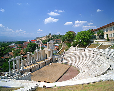 The Roman theatre in the town of Plovdiv in Bulgaria, Europe