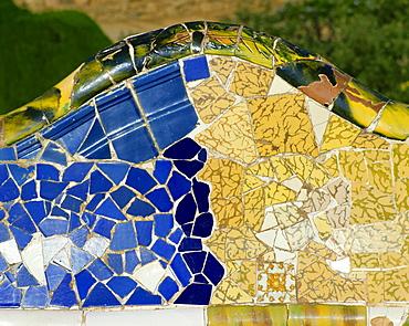 Gaudi mosaics, Guell Park, Barcelona, Catalonia, Spain, Europe