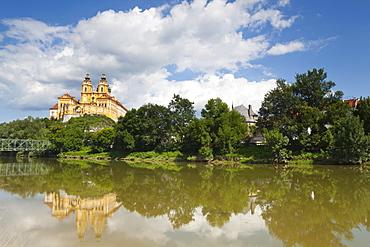Melk Abbey reflected in the River Danube, Wachau, Lower Austria, Austria, Europe