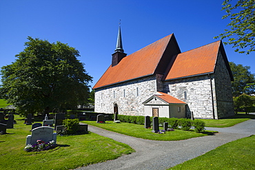 Stiklestad Church, near the scene of the famous Battle of Stiklestad, Verdal, Nord-Trndelag, Norway, Scandinavia, Europe