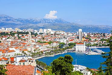 Elevated view over Split's picturesque Stari Grad and harbour, Split, Dalmatia, Croatia, Europe - 1158-468