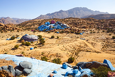 Painted Rocks, work of the Belgian Artist Jean Veran, Aguerd Oudad, Tafraoute, Anti Atlas, Morocco, North Africa, Africa