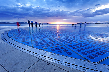 Installation Greetings To The Sun by Nikola Basic at sunset, Zadar, Dalmatia, Croatia, Europe