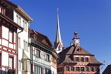 Historic townhouses and town hall in the market place, Stein am Rhein, Canton Schaffhausen, Switzerland, Europe