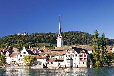 Old town along the Rhine promenade with Burg Hohenklingen castle, Stein am Rhein, Canton Schaffhausen, Switzerland, Europe