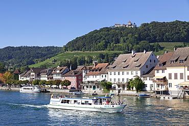 Excursion boat on the Rhine River with Burg Hohenklingen castle, Stein am Rhein, Canton Schaffhausen, Switzerland, Europe