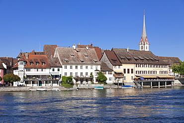 Old town along the Rhine promenade, Stein am Rhein, Canton Schaffhausen, Switzerland, Europe
