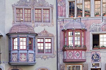 Facades of the town houses at the Rathausplatz square, Stein am Rhein, Canton Schaffhausen, Switzerland, Europe