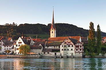 Monastery of St. Georgen and Burg Hohenklingen castle, Stein am Rhein, Canton Schaffhausen, Switzerland, Europe