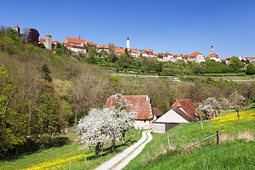 Rothenburg ob der Tauber in the springtime, Romantische Strasse, Franconia, Bavaria, Germany, Europe