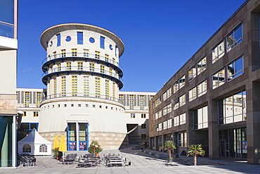 State University for music and visual arts, architect James Stirling, Stuttgart, Baden Wurttemberg, Germany, Europe
