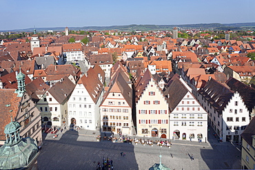 View from town hall, Rothenburg ob der Tauber, Romantic Road (Romantische Strasse), Franconia, Bavaria, Germany, Europe