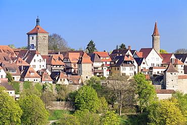 Townscape with Siebersturm Tower and Kobolzeller Turm Tower, Rothenburg ob der Tauber, Romantic Road (Romantische Strasse), Franconia, Bavaria, Germany, Europe