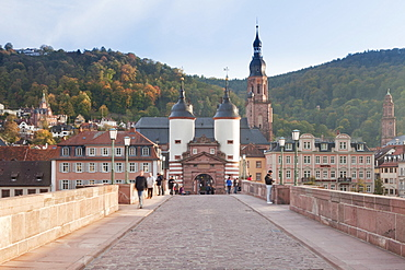 Karl Theodor Bridge with Stadttor gate and Heilig Geist Church, Heidelberg, Baden Wurttemberg, Germany, Europe