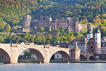 Neckar River with Karl Theodor Bridge, Stadttor gate and castle, Heidelberg, Baden Wurttemberg, Germany, Europe