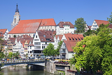 Old town with Stiftskirche Church and the Neckar River, Tubingen, Baden Wurttemberg, Germany, Europe