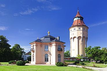 Water Tower and Pagodenburg Pavillon, Rastatt, Black Forest, Baden Wurttemberg, Germany, Europe