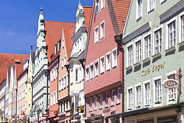 Traditional colorful facades on Reichstradtstrasse, Donauworth, Romantic Road, Bavarian Swabia, Bavaria, Germany, Europe