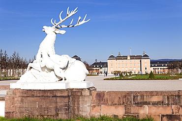 Sculpture of the deer, Schloss Schwetzingen Palace, Palace Gardens, Schwetzingen, Baden Wurttemberg, Germany, Europe