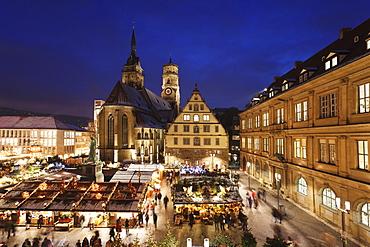 Christmas fair on Schillerplatz square with Stiftskirche church, Stuttgart, Baden Wurttemberg, Germany, Europe