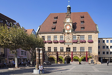 Town Hall with astronomical clock, Market Place, Heilbronn, Baden Wurttemberg, Germany, Europe