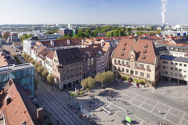 View from Kilianskirche church of Town Hall with astronomical clock and Market Place, Heilbronn, Baden Wurttemberg, Germany, Europe