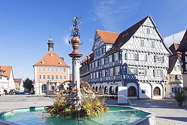 Marketplace, Town Hall, fountain and Palmsche Apotheke Pharmacy, Schorndorf, Schurwald, Baden Wurttemberg, Germany, Europe