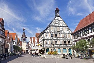 Town Hall, Marktbrunnen Fountain, Schwaikhaimer Torturm Tower, Winnenden, Rems-Murr Disrict, Baden Wurttemberg, Germany, Europe