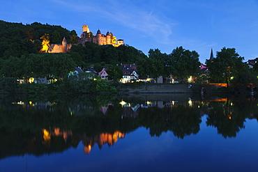 Wertheim Castle reflecting in Main River, Wertheim, Main Tauber District, Baden Wurttemberg, Germany, Europe