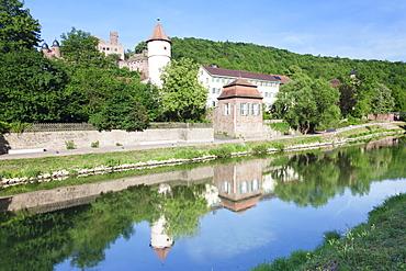 Roter Turm Tower, Wertheim Castle, Tauber River, Wertheim, Main Tauber District, Baden Wurttemberg, Germany, Europe