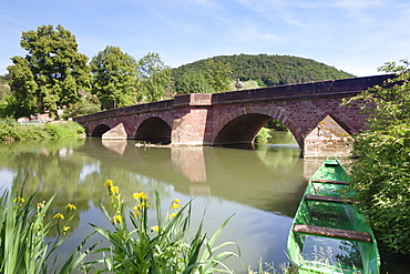 Bridge over the Tauber River, Gamburg, Taubertal Valley, Romantic Road, (Romantische Strasse) Baden Wurttemberg, Germany, Europe