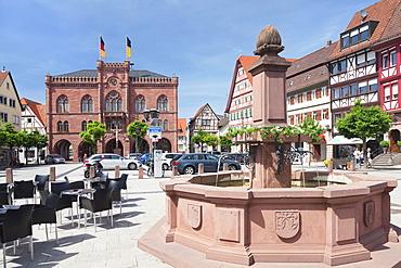 Town hall and market place, Tauberbischofsheim, Taubertal Valley, Main Tauber District, Baden Wurttemberg, Germany, Europe