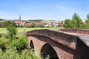 Bridge over Tauber River, Taubertal Valley, Hochausen, Romantic Road (Romantische Strasse), Baden Wurttemberg, Germany, Europe