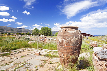 Clay container, Minoan Palace, excavation site,  Malia, Heraklion, Crete, Greek Islands, Greece, Europe