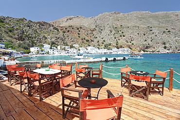 Street cafe at the Promenade, Loutro, South Crete, Crete, Greek Islands, Greece, Europe