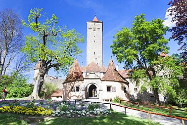 Burgtor Gate and Bastei, Rothenburg ob der Tauber, Romantic Road (Romantische Strasse), Franconia, Bavaria, Germany, Europe