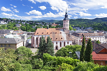 Aerial view of the old town with Stiftskirche collegiate church, Baden-Baden, Black Forest, Baden Wurttemberg, Germany, Europe