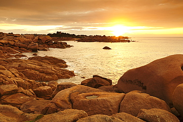 Rocks at the path Sentier des Douaniers on the Cote de Granit Rose at sunset, Cotes d'Armor, Brittany, France, Europe