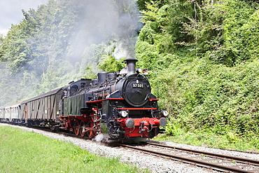 Schwaebische Waldbahn, steam train, Rudersberg, Swabian Forest, Rems Murr District, Baden Wurttemberg, Germany, Europe