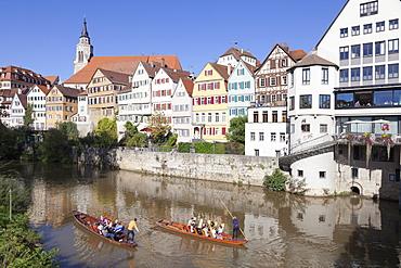 Punt on Neckar River, old town of Tuebingen, Stiftskirche Church, Baden Wurttemberg, Germany, Europe