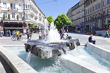 Fountain, Pedestrian area, Baden-Baden, Black Forest, Baden-Wurttemberg, Germany, Europe