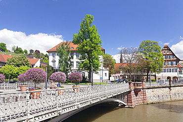 View over Wehrneckarkanal Chanel to Schwoerhaus house, Esslingen (Esslingen-am-Neckar), Baden-Wurttemberg, Germany, Europe