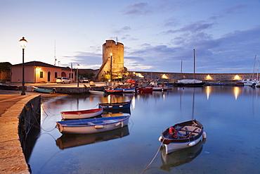 Port of Marciana Marina with Torre Pisana Tower, Marciana Marina, Island of Elba, Livorno Province, Tuscany, Italy, Europe